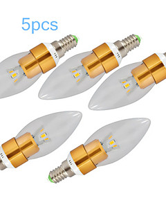 5 pcs E14 3 W 1 SMD 250-300 LM Warm White C Decorative Candle Bulbs AC 220-240 V