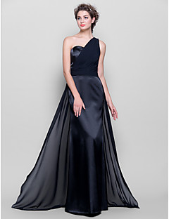 Lanting Bride Floor-length Chiffon / Stretch Satin Bridesmaid Dress - Mini Me Sheath / Column One Shoulder Plus Size / Petite withSash /