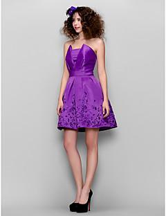 Dress - Grape A-line Square Short/Mini Satin