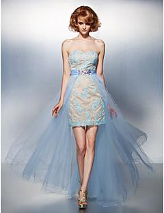 Vestido - Azul Linha-A Curação Longo Tule