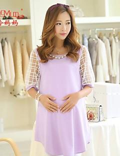 Korean fashion summer coarse linen pregnant summer short sleeved Chiffon Dress Dress pregnant women