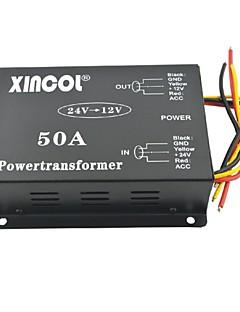xincol® køretøj bil dc 24v til 12v 50a strømforsyning transformer konverter med dual fan regulering-sort