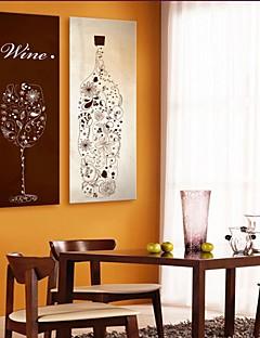 e-Home® allungata tela arte della bottiglie e bicchieri decorazione pittura insieme di 2