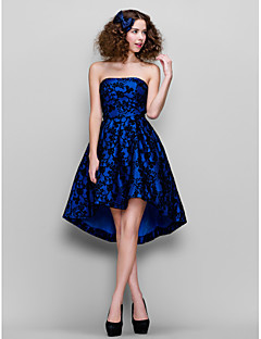 Prom / Company Party Dress - Royal Blue Plus Sizes / Petite A-line Strapless Asymmetrical Lace