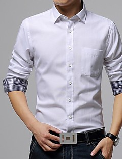 Men's Solid Casual / Plus Sizes Shirt,Cotton / Polyester Long Sleeve Black / Blue / Green / Red / White / Yellow / Gray