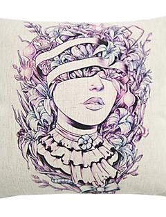 """createforlife® 18 """"coussin décoratif carré rétro portrait indien de beauté de linge de coton"""