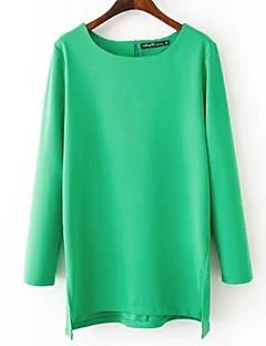Vrouwen Eenvoudig Herfst T-shirt,Casual/Dagelijks Effen Ronde hals Lange mouw Zwart / Groen Polyester Medium