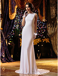 Sheath/Column Wedding Dress - White Court Train Jewel Knit