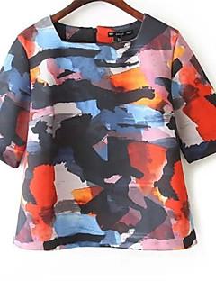 여성의 프린트 스퀘어 넥 짧은 소매 티셔츠,심플 캐쥬얼/데일리 멀티 색상 폴리에스테르 봄 중간