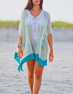 Women's Fashion Sexy White Chiffon Hollow-out Kintwear Sun Prevention Beach Cover-up