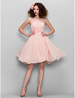 Homecoming Honeymoon/Cocktail Party/Formal Evening/Sweet 16 Dress - Blushing Pink A-line One Shoulder Knee-length Chiffon