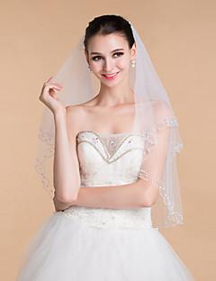 boda velos elegantes diamantes de imitación de tul de dos niveles velos borde de cuentas de las mujeres