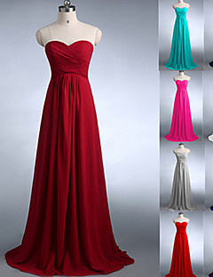 Floor-length Chiffon Bridesmaid Dress A-line Strapless/Sweetheart
