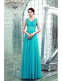 Formal Evening Dress - Pool Plus Sizes / Petite Sheath/Column V-neck Floor-length Chiffon