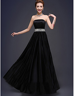 Floor-length Stretch Satin Bridesmaid Dress - Lace-up A-line Strapless with