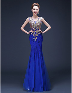 Formal Evening Military Ball Dress - Lace-up See Through Color Block Trumpet / Mermaid Straps Floor-length Lace Tulle with