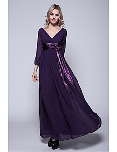 A-line Mother of the Bride Dress Floor-length 3/4 Length Sleeve Chiffon