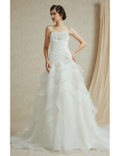 A-line Wedding Dress Chapel Train Bateau