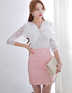 Pink Doll® Women's Piping Lace 3D Bow Elegant OL Shirt