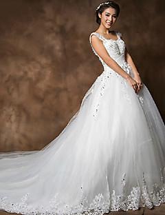 웨딩 드레스 - 화이트 성당 트레인 스트랩 오르간자