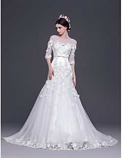 A-line,Princess Sweep/Brush Train Wedding Dress -Bateau Tulle