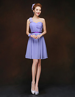 Short / Mini Lace-up Bridesmaid Dress - Sheath / Column One Shoulder with Flower(s)