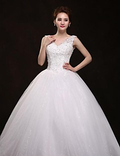 Ball Gown Wedding Dress - White Floor-length V-neck Organza