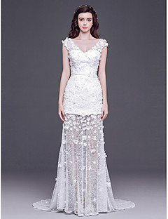 Sheath/Column Floor-length Wedding Dress -V-neck Tulle