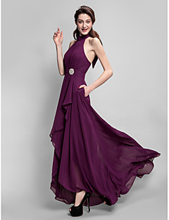 Lanting Bride® Asymmetrical Chiffon Bridesmaid Dress A-line High Neck Plus Size / Petite with Bow(s) / Draping / Pockets / Crystal Brooch