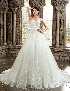 A-line Petite / Plus Sizes Wedding Dress - Ivory Chapel Train Sweetheart Lace
