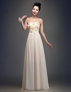 Robe de Demoiselle d'Honneur  A-line Sans bretelles Longueur ras du sol Mousseline polyester
