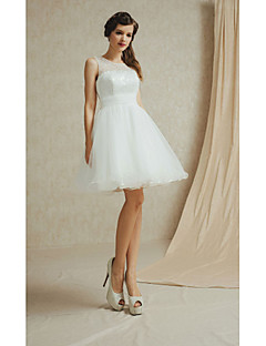 Knee-length Satin / Lace Bridesmaid Dress - Sage / White / Champagne / Sky Blue / Purple A-line Bateau