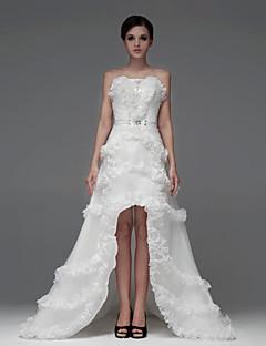 Abito da sposa - Bianco e champagne (il colore può variare a seconda del monitor) Trapezio A cuore Asimmetrico