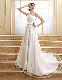 A-line Wedding Dress - White Court Train Jewel Satin / Tulle