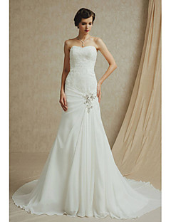 A-line Wedding Dress Court Train Bateau