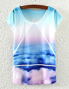Damen Druck Einfach Lässig/Alltäglich T-shirt,Rundhalsausschnitt Frühling / Sommer / Herbst Kurzarm Weiß Dünn
