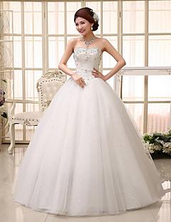 Ball kjole brudekjole sparkle& Skinne gulvlengde kjære blonder med appliques beading