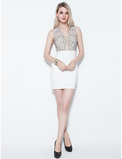 Sheath/Column Straps Short/Mini Jersey And Lace Cocktail Dress