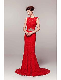 Homecoming Sheath/Column Jewel Court Train Lace Evening Dress