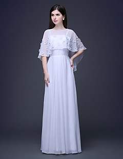Sheath / Column Spaghetti Straps with Crewneck Cappa Floor-length Chiffon and Lace Evening Dress