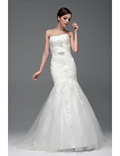 Vestido de Boda - Blanco y Champaña (el Color y Estilo pueden variar según su monitor) Ajustado y Ancho Hasta el Suelo - Barco