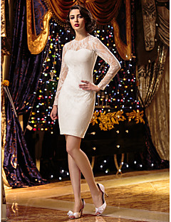 Lanting Bride® Sheath / Column Petite / Plus Sizes Wedding Dress Short / Mini Jewel Lace with