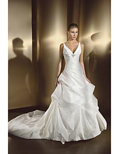 웨딩 드레스 A 라인 쿼트 트레인/바닥 길이 스트랩 새틴 쉬폰