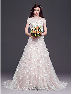 A-line,Princess Court Train Wedding Dress -Scoop Tulle