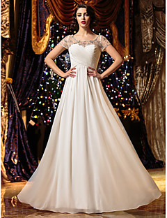 Lanting Bride A-line Petite / Plus Sizes Wedding Dress-Floor-length Scoop Chiffon