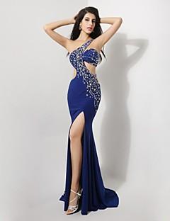 저녁 정장파티 드레스 - 로얄 블루 트럼펫/멀메이드 바닥 길이 원 숄더 스판덱스