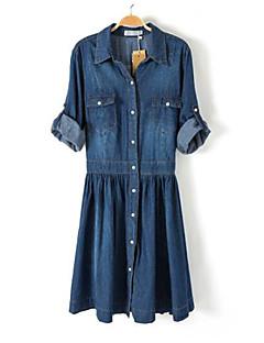 Women's Blue Denim Dress , Vintage/Casual/Work Long Sleeve