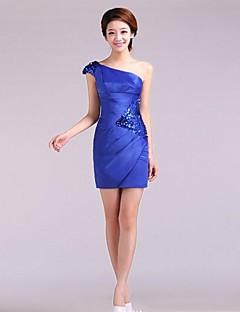 Kleid - Blau/Schwarz Satin - Etui-Linie - mini - 1-Schulter