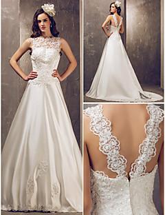 Lanting Bride® גזרת A קטן / מידה גדולה שמלת כלה - אלגנטי ויוקרתי / זוהר ודרמטיות פתוח בגב שובל קורט עם תכשיטים סאטן / טול עם