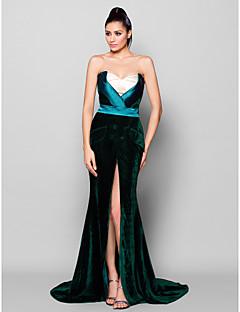 드레스 - 다크 그린 트럼펫/멀메이드 쿼트 트레인 스위트하트 벨벳